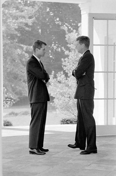 Robert Kennedy and John Kennedy during the Cuban missile crisis in October 1962.