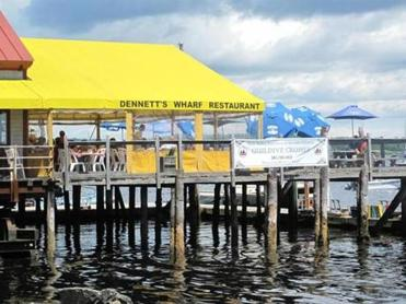 Dennett's Wharf's deck offers front-row seats on the harbor.