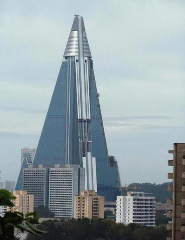 The vast, unfinished Ryugyong Hotel, photographed in 2010.