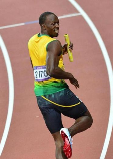 Usain Bolt was all smiles after he helped the Jamaicans' to a 4 x 100 relay world record