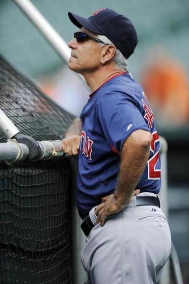 Red Sox manager Bobby Valentine watched batting practice on Tuesday.