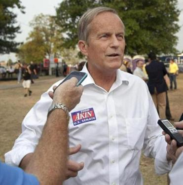 Todd Akin, Republican Senate candidate, is shown speaking to to reporters on Aug. 16.