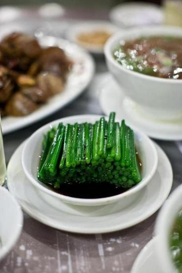 Chive flower stems at Hing Kee restaurant.