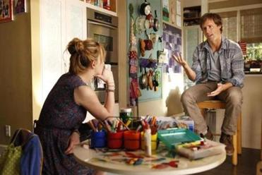 Odd couple siblings Kate (Dakota Johnson, left) and Ben (Nat Faxon, right).
