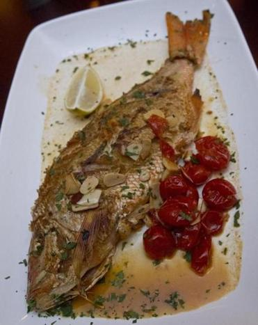 The North End restaurant's menu includes red snapper.