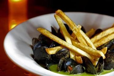 Traditional Moules Mariniere - mussels, white wine, butter, garlic and hand cut frites from Central Kitchen.