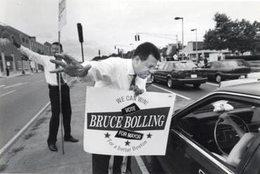 Bruce Bolling gave directions while campaigning in front of Roxbury Community College in Boston in 1993.