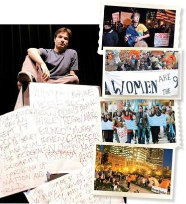 Clockwise from above left: Danny Bryck, an actor, used recordings of Occupy Boston to piece together a play; Martin Hunter of Somerville at a Dewey Square protest last year; protesters joined in a women's march in Chinatown last December; a march in the financial district in January; protesters last October on the Rose Fitzgerald Kennedy Greenway.