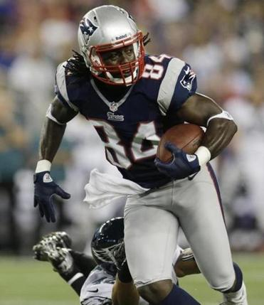 Deion Branch is seen in a preseason game against the Eagles in Foxborough Aug. 20.