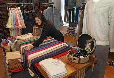 """It's hand-holding in a good way,'' says Lauren Cuozzo. manager of Bonobos' Newbury Street store."