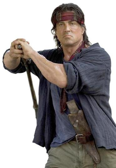 "Sylvester Stallone famously takes no guff in the 2008 film ""Rambo."""