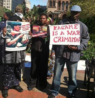 Critics of President Paul Kagame of Rwanda demonstrated in Copley Square.
