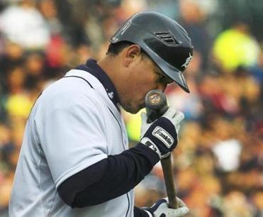 Miguel Cabrera figures a little smooch for one of his bats can't hurt in his quest to become the first Triple Crown winner since 1967.