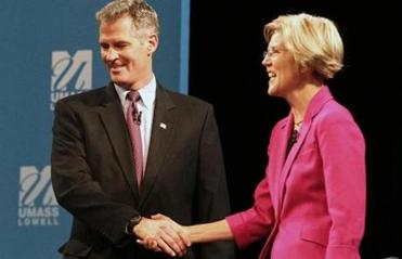 Senator Scott Brown and Elizabeth Warren met before their debate in Lowell.