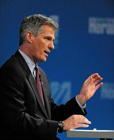 Scott Brown spoke during the debate at UMass Lowell's Tsongas Center  Monday.