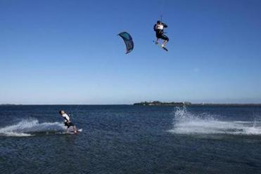 World record-holder Rob Douglas jumped near fellow kiteboarder Brock Callen recently near Chappaquiddick Island.