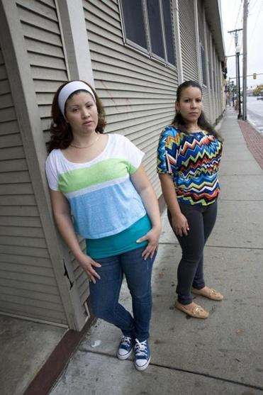 Arquinia Rodriguez (left) and Karla Bonilla said a layoff by Progressive Gourmet in Wilmington was aimed at thwarting its employees' efforts to form a union.