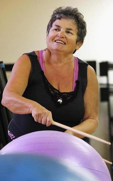 Raisa Ryabina (right) drums during a class in Marblehead.