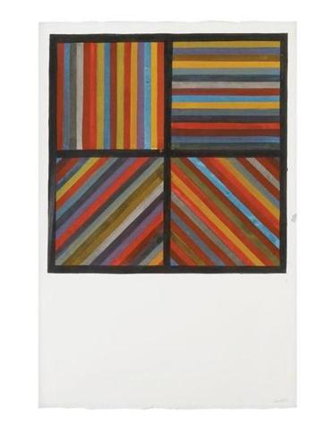 "Sol LeWitt's gouache on paper ""Bands of Color in Four Directions"" (1991)."