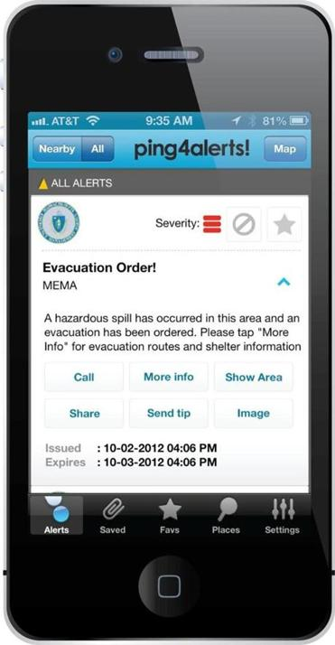 The Ping4Alerts! app will send messages to users about safety hazards.