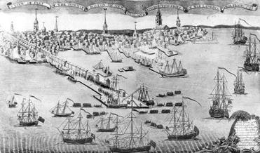 A Paul Revere engraving shows Long Wharf in 1768.