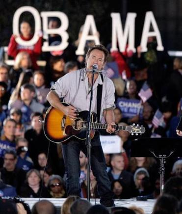 Bruce Springsteen, shown at a 2008 rally for Obama, will work for him again this week.