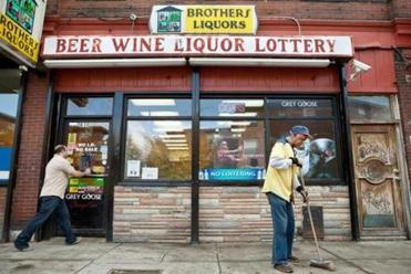 City officials say some patrons of Brothers Liquors on Shawmut Avenue in Roxbury litter nearby Ramsay Park.