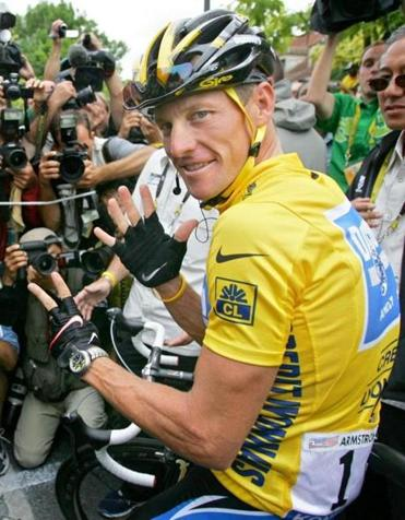 As far as cycling is concerned, Lance Armstrong never wore the yellow jersey signifying the Tour de France victor.