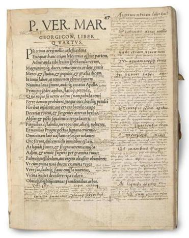 A copy of Virgil annotated by a French student circa 1560.