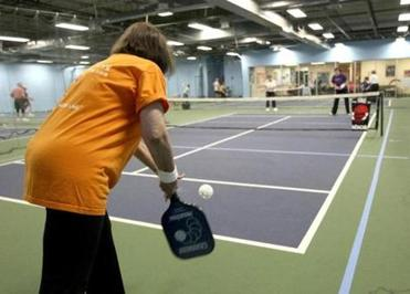 Rutty Guzdar served as pickleball was played at the Longfellow Club's Zip Zone in Wayland.