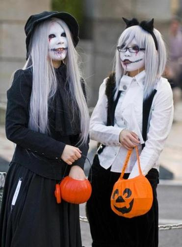 Two girls celebrate Halloween in Tokyo, in 2009.