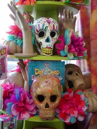 Decorated skulls for the Day of the Dead Fiesta this Friday.