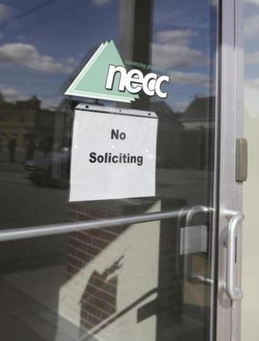 The door of the New England Compounding Center in Framingham.