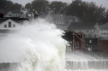 Waves crashed over Winthrop Shore Drive during Hurricane Sandy.