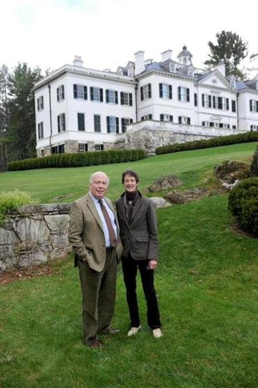 Julian Fellowes with The Mount's executive director, Susan Wissler.