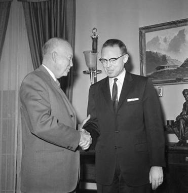 President Dwight Eisenhower met at the White House in 1960 with John H. Reed, Maine's governor from 1959-1966.