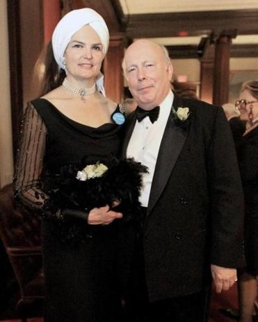 Julian Fellowes and his wife, Emma, at the Harvard Club.