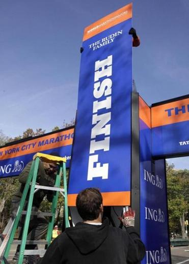 Central Park's finish line was set up before Friday's final decision.