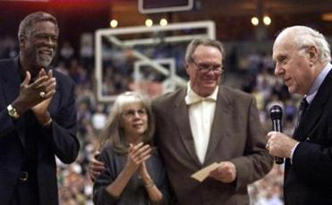 From left, Bill Russell, Nancy Auerbach, and Tommy Heinsohn listened as Red Auerbach spoke at the Fleet Center on Nov. 3, 1999
