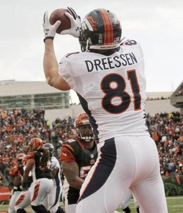 Denver tight end Joel Dreesen has four touchdowns in the last six games, so he could give you a hand at that position.