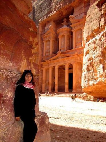 The author in Jordan, one of the 35 countries she has visited.