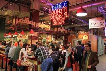 Customers at Tommy DiNic's sandwich shop in Reading Terminal Market, Philadelphia.