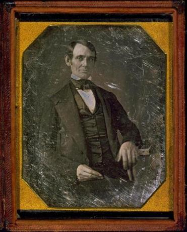 The earliest-known photograph of Abraham Lincoln, taken at age 37.