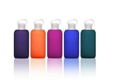 BKR glass bottle with silicone sleeve, $30 at ICA Store, 100 Northern Avenue, Boston, 617-478-3104, icastore.org