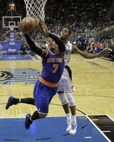 The Knicks' Carmelo Anthony scored 25 points against the Magic.