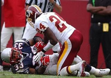 Champ Bailey forced this Kevin Faulk fumbled that the Redskins recovered at the Patriots' 1-yard line.
