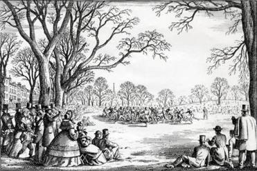 An artist's rendition of an Oneida Club football match in the team's first year of existence.