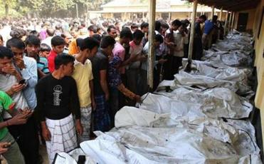 Bangladeshis identified bodies of relatives who died in the garment factory fire.