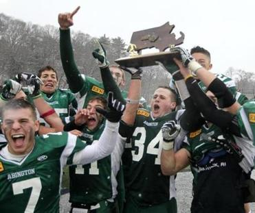 Milton Massachusetts 12-01-2012 Abington celebrates their victory.High School Super Bowl St. Mary's vs Abington (Jonathan Wiggs ) Topic: Reporter: