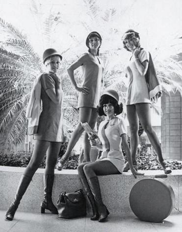 Old images in Logan's exhibit include this shot of flight attendants.